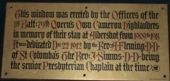 Plaque commemorating gift of the Cameron Highlanders